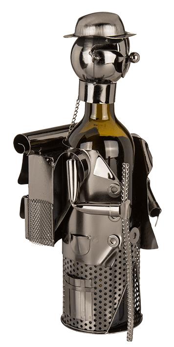 Flaschenhalter Wanderer Skulptur - Weinflaschenhalter aus Eisen - Flaschenständer-Seitenansicht