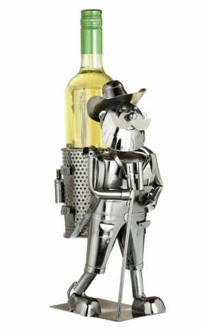Flaschenhalter Wanderer Skulptur aus Metall