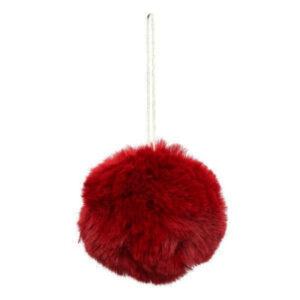 Flauschige Weihnachtsbaumkugel rot aus Stoff 235357_s
