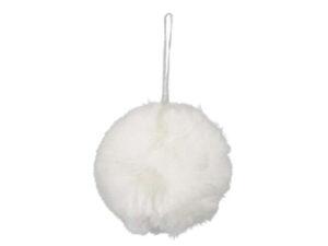 Flauschige Weihnachtsbaumkugel weiß aus Stoff - Schneeball Deko