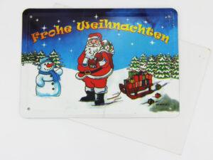 Frohe Weihnachten Blechkarte - Blechgrußkarte mit Umschlag