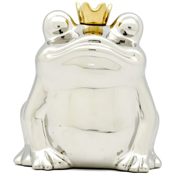 Froschkönig Spardose silber mit goldener Krone.