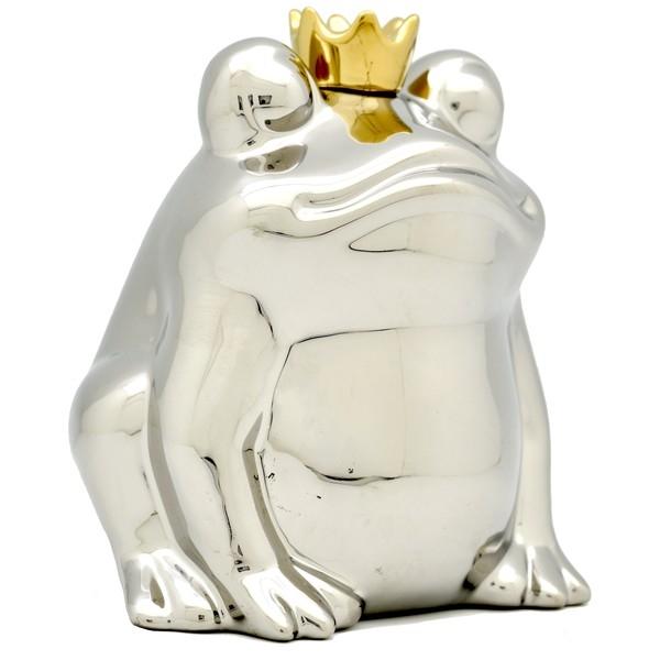 Froschkönig Spardose silber mit goldener Krone