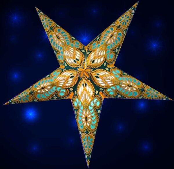Ganesha Gelb türkis Magnetverschluss- Papiersterne mit orientalischem Muster Leuchtsterne 60 cm