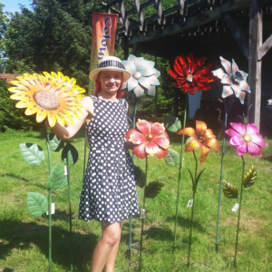 Metall Blume Gartenstecker Flower - Finisch in leuchtender Farbgebung