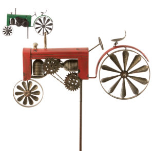 Gartenstecker Traktor, groß - Windspiel Trecker aus Eisen mit beweglichem Hinterrad als Windrad - Farmer Windmühle Landwirtschaft. grün oder rot