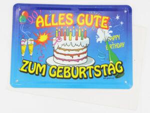 Geburtstag Blechkarte - Blechgrußkarte Alles Gute zum Geburtstag mit Umschlag
