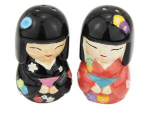 Geisha Salz- und Pfefferstreuer - Gewürzstreuer aus Keramik