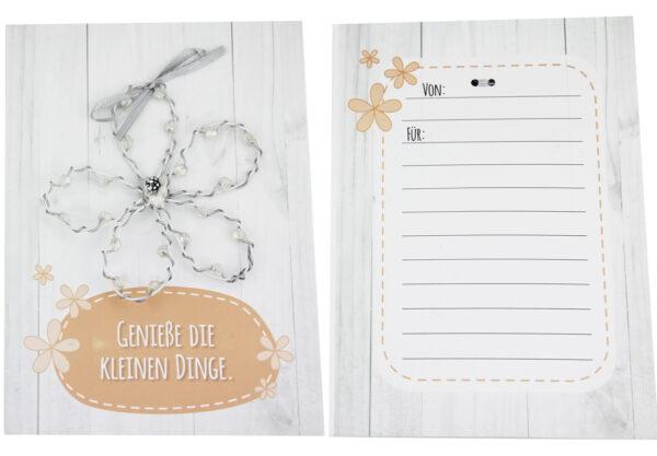 Genieße die kleinen Dinge Blumenkarte - persönliche Grußkarte mit einer Drahtblume.