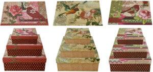 Vogelmotiv Geschenkkarton mit Glitzereffekt - verspielte Schachteln - 3 er Set