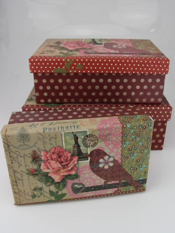 Geschenkkarton mit Glitzereffekt - verspielte Schachtel - Set + verschiedene Größen (14 - 19 cm, 3er Set)