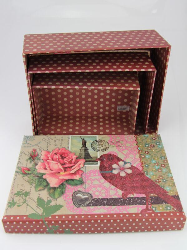Geschenkkarton mit Glitzereffekt - verspielte Schachtel - Set + verschiedene Größen (14 - 19 cm, 3er Set).