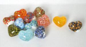 Glas Herz gesprenkelt – Dekoherzen – Glasherzen – Streudeko Glasherz