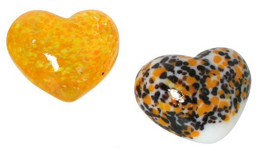 Glas Herz gesprenkelt – Dekoherzen – Glasherzen – Streudeko Glasherz.