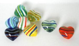 Glas Herz gestreift – Dekoherzen – Glasherzen – Streudeko Glasherz