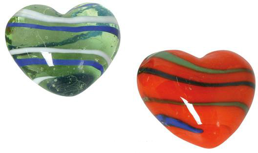 Glas Herz gestreift – Dekoherzen – Glasherzen – Streudeko Glasherzen