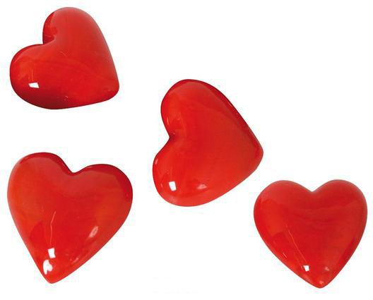Glas Herz rot – Dekoherzen – Rote Glasherzen – Streudeko Glasherz