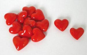 Glas Herz rot – Dekoherzen – Rote Glasherzen – Streudeko Glasherzen