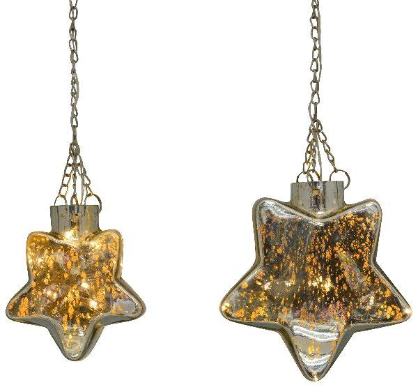 Glas Leuchtstern silber mit LED - verschiedene Größen Leuchtstern silber aus Glas mit LED an
