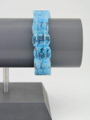 Glasstein Armband mit blauen Blümchen