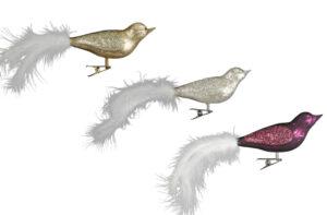 Glitzer Glasvogel mit Clip Weihnachtsbaum - Vogelclip mit Feder Baumschmuck