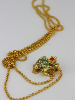 Glitzerfroschkönig Anhänger gold mit Kette
