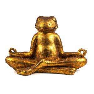 Goldene Frosch Skulptur - Yoga Frosch im Lotussitz