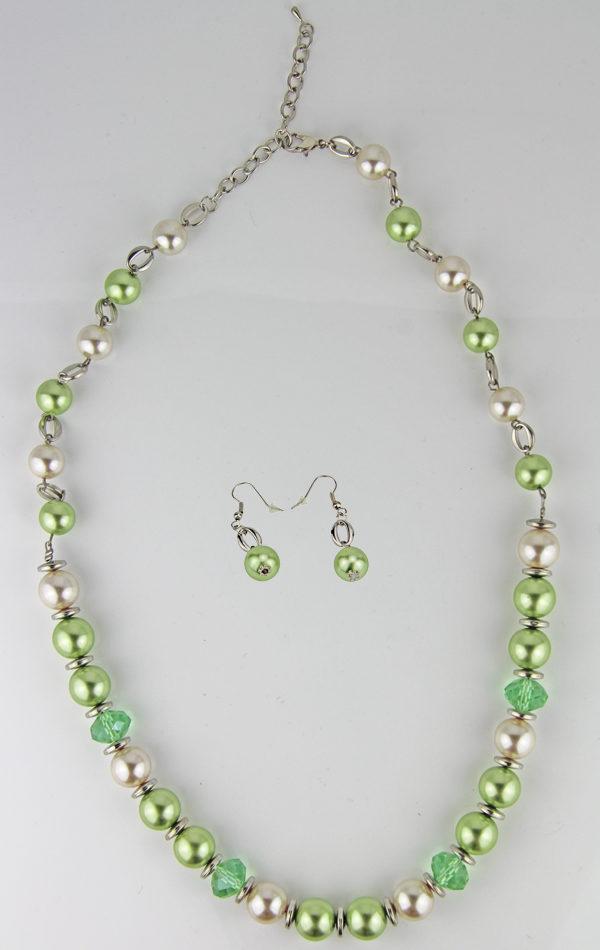 Große Kunststoff Perlen Kette Set grün, perle