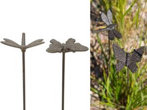 Gusseisen Beetsecker Libelle oder Schmetterling - robuster Gartenstecker
