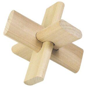 Das Kreuz - Holz Knobelpuzzle im umweltfreundichen Packsack - 3 Teile