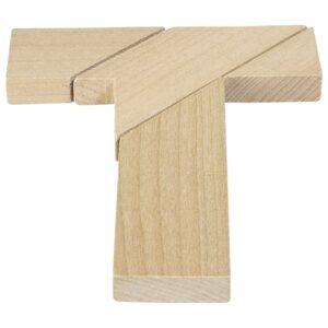 Das verflixte T- Holz Knobelpuzzle im umweltfreundichen Packsack - 4 Teile