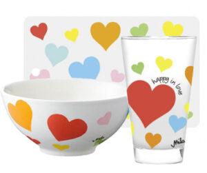 Mila Happy in Love, Frühstücksset für Verliebte: Brettchen + Müslischale + Trinkglas