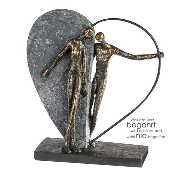 Herzklopfen Skulptur Liebespaar mit Herz - auf schwarzer Basis mit Spruchanhänger
