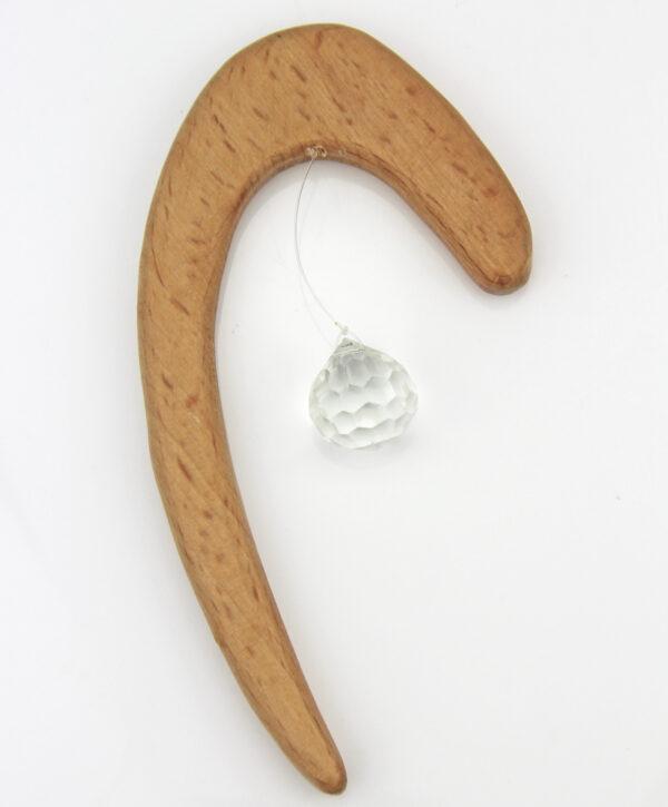 Holz Deko mit Kristallkugel