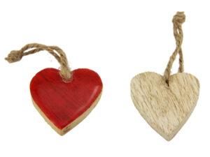 Holz Herz rot zum hängen - Herz zum Beschriften Geschenkanhänger - Dekoration