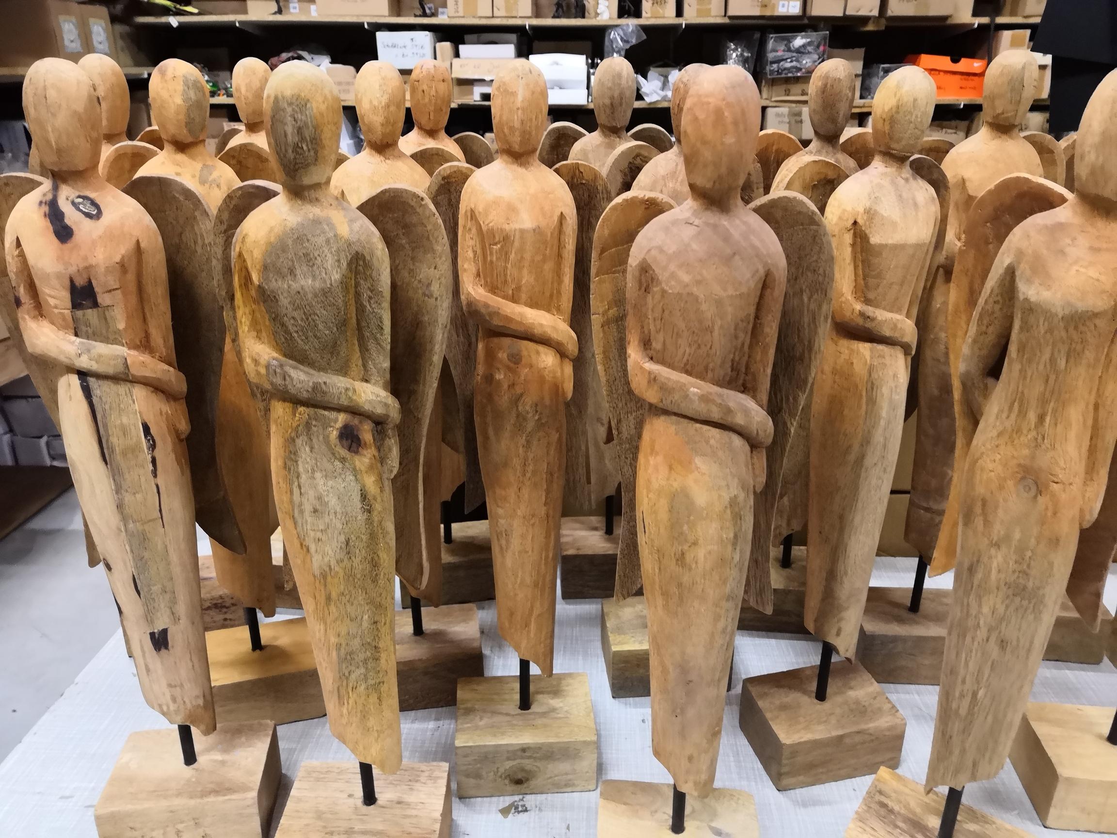 Holz Engel Skulptur Artisanal 51cm Moderne Plastik Dekofigur