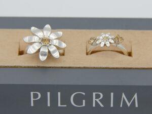 Pilgrim Kristall Blüten Ring silber :flowerOnev
