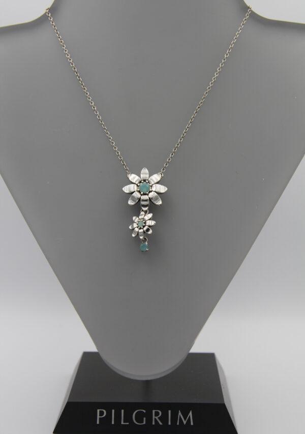 Pilgrim Kristall Blüten Kette silber/mint breiteren Blüte