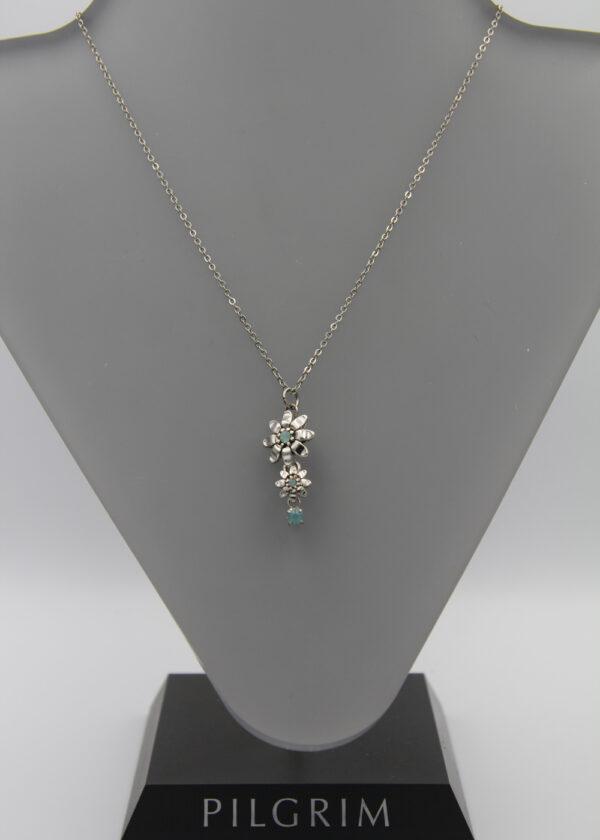 Pilgrim Kristall Blüten Kette silber/mint kleineren Blüte