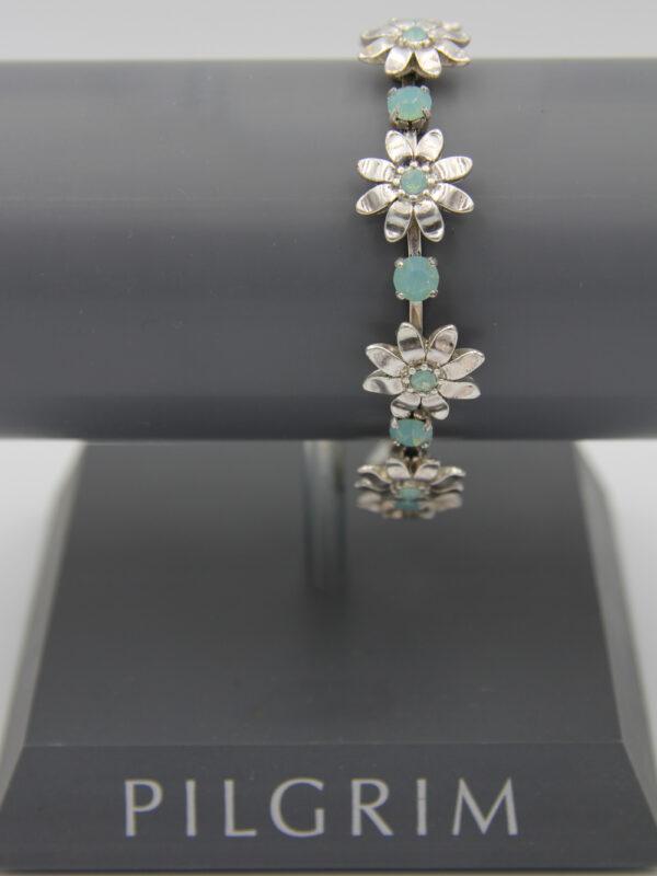 Pilgrim Kristall Blüten Armband silber/mint