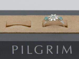 Pilgrim Kristall Blüten Ring silber :flowerOne - kleine Blüte mint/silber