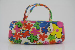 Brillenetui Flower Power- robustes Hard Case mit praktischem Henkel-Brillenbox - Handtasche für die Sonnenbrille