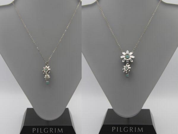 Pilgrim Kristall Blüten Kette silber/mint