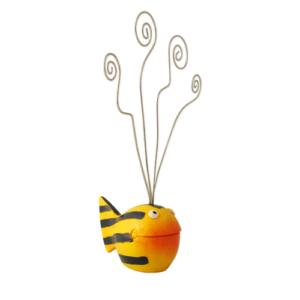 Kartenhalter Fisch Looky Kugelfisch - Fotohalter - Notizhalter - Dekofigur blau/gelb