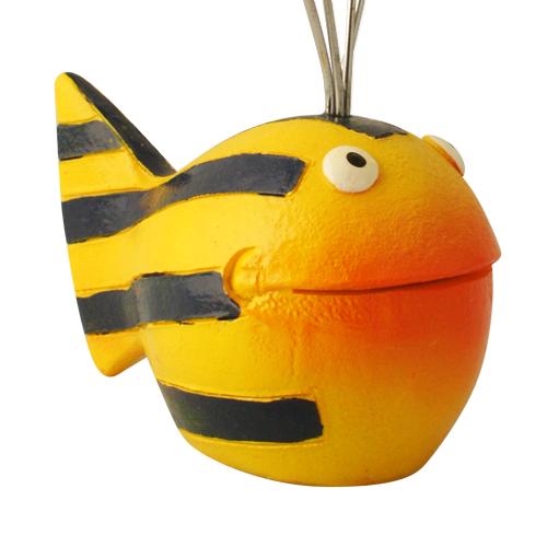 Kartenhalter Fisch Looky Kugelfisch grinsend - Fotohalter - Notizhalter - Dekofigur Kunstharz