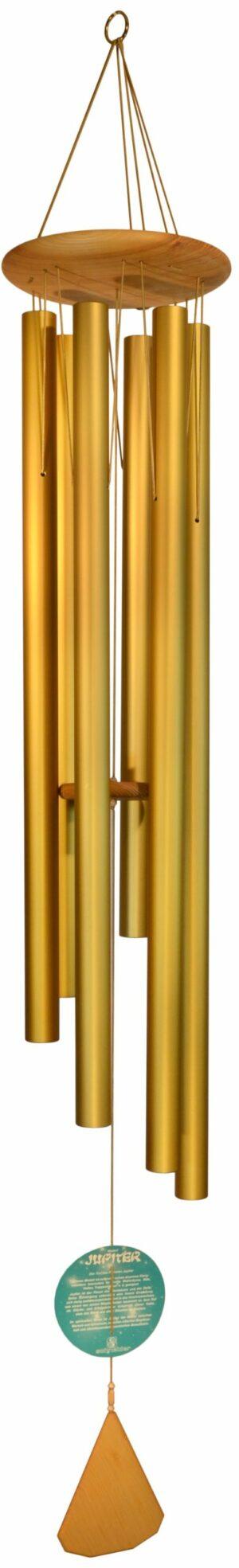 XXL Obertonklangspiel Jupiter Classic Gold - Klang der Planeten - gestimmtes Metallklangspiel - Klangspiel mit 6 Klangröhren - Windspiel 160 cm