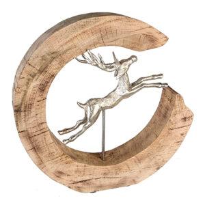 Jumping Deer - Holz-Aluminium springender Hirsch Skulptur in Baumscheibe - naturbelassene massives Mangoholz - Holz Kreis Skluptur Hirsch