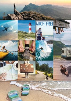 Doppelkarte Urlaubsfeeling - Urlaubskarte mit Leuchtturm, Berge, wandern, campen, fliegen, surfen, Strand, Träumen, etc...
