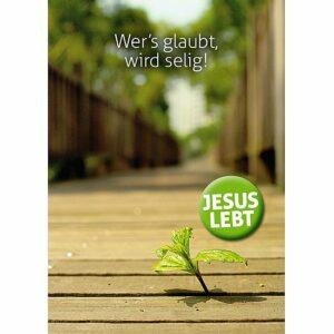 """Postkarte Wer´s glaubt, wird selig! - Mit """"Jesus lebt"""" Button"""