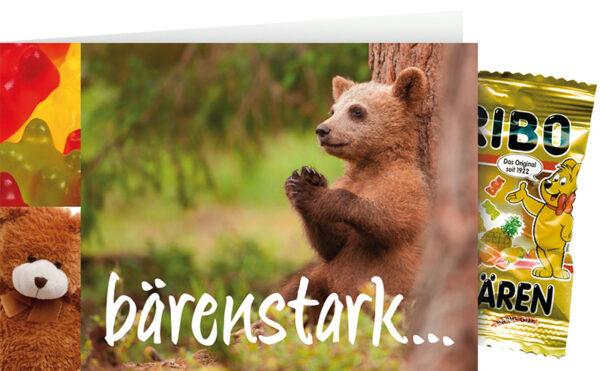 "Bärenstark Kinderkarte mit Gummibären - Teddybär Klappkarte ""Schön, dass du da bist"""